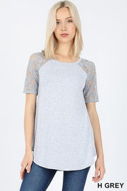 Short Sleeve Top with Lace Sleeve Detail