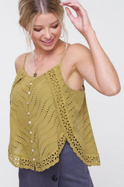 Apple of My Eyelet Button Down Camisole