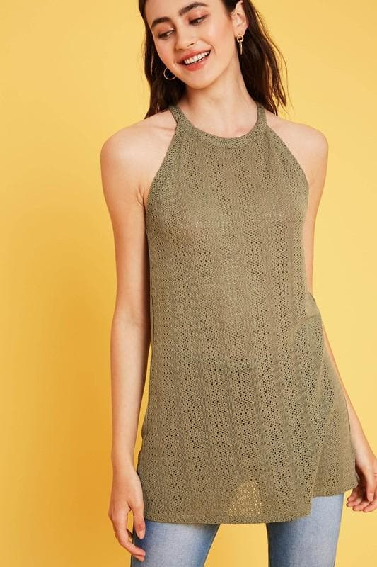 Crochet Knit Halter Neck Tunic Top