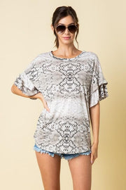 Plus Size Ruffled Sleeve Snake Print Top