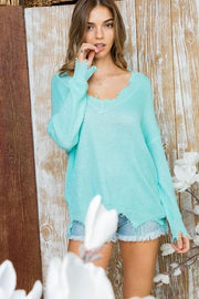 Distressed V Neck Long Sleeve Sweater