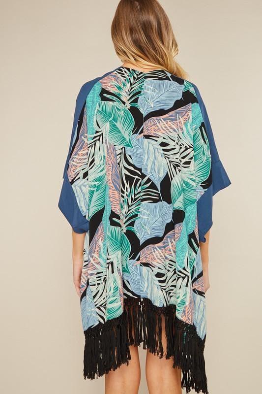 Palm Leaf Tropical Print Kimono With Fringe Hem