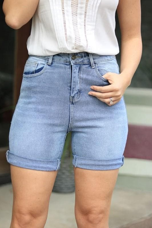 Plus Size Stone Washed Bermuda Rolled Cuff Short