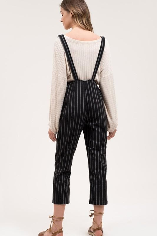 Low Front Striped Overalls with Adjustable Straps