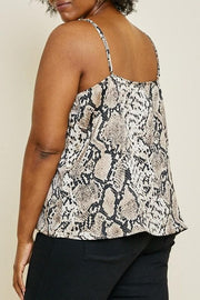 Plus Size Snake Printed Cami Top with Adjusted Strap Detail