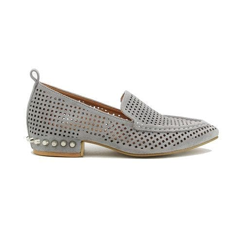 Perforated Loafer with Studded Heel
