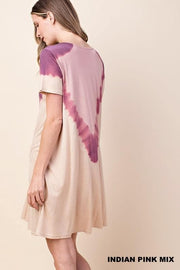 Tie Dye Neck Line Jersey Dress