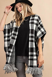 Plaid Sweater Poncho (S-2XL)