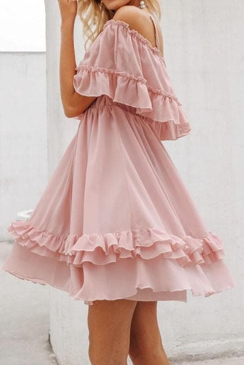 Off Shoulder Ruffle Mini Dress