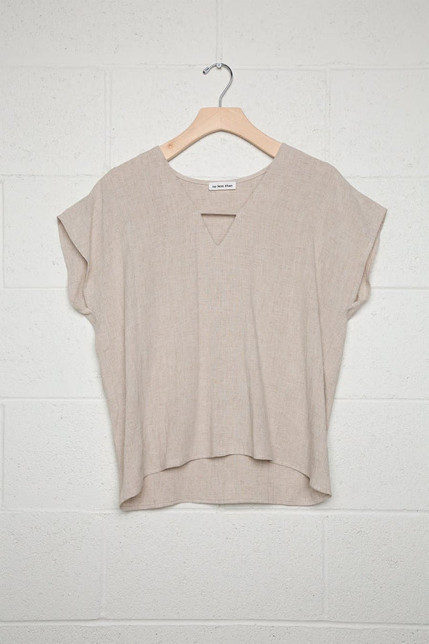 Boxy Blouse with Spaghetti at V-Neck