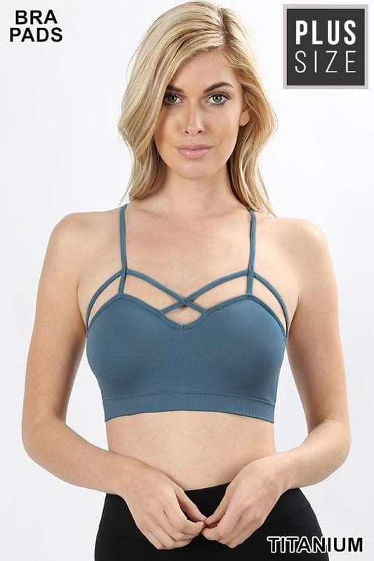 Plus Size Doorbuster Seamless Criss-Cross Front Bralette with Removable Pads
