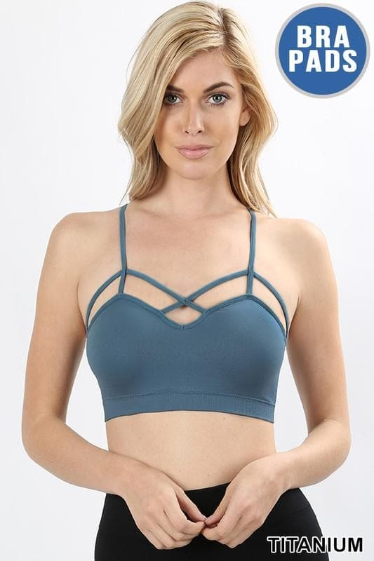 Doorbuster Seamless Criss-Cross Front Bralette with Removable Pads