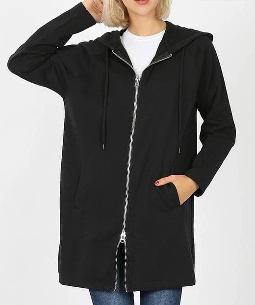 Doorbuster Two Way Metal Zipper Hoodie Sweat Jacket with Side Pockets