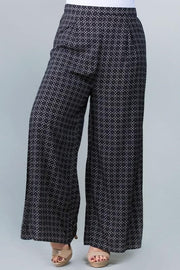 Plus Size Printed Palazzo Pants with High Slits
