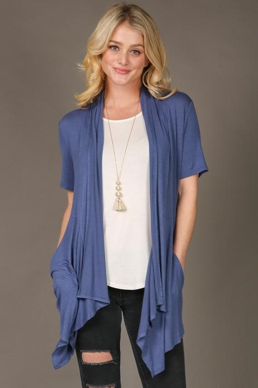 Short Sleeve Waterfall Cardigan with Pockets
