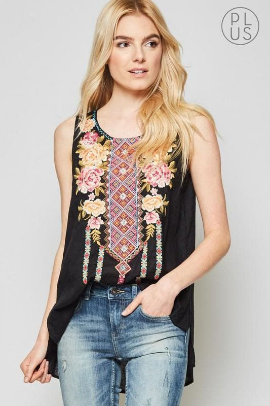 Plus Size Tunic Top with Embroidery Detail on the Front