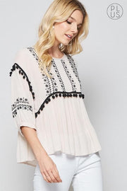 Plus Size BOHO Top with Pom Pom Accent