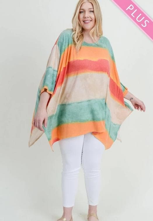 Plus Size Striped Print Poncho Top with 3/4 Length Sleeves