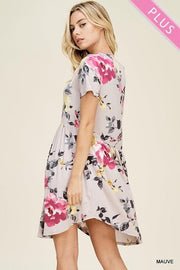 Plus Size Floral Print Dress with Smocked Waistline