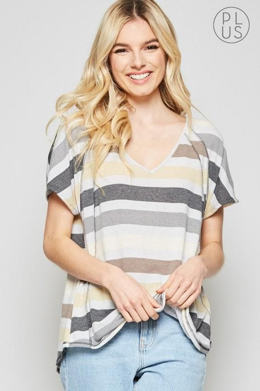 Plus Size Faded Stripe Knit Top with Dolmen Sleeves