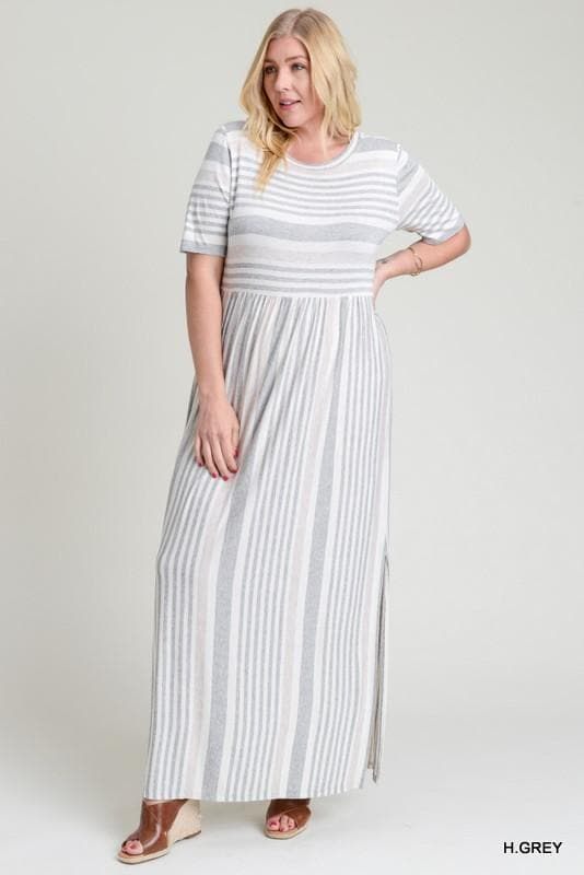 Plus Size Soft Striped Maxi Dress