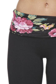 High Quality Cotton Floral Print Waist Band Yoga Pants