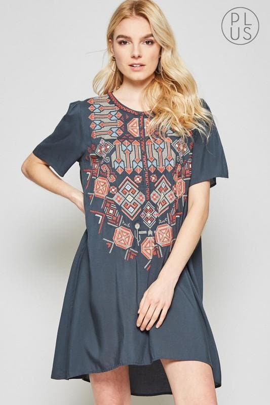 Plus Size Aztec Embroidery Dress