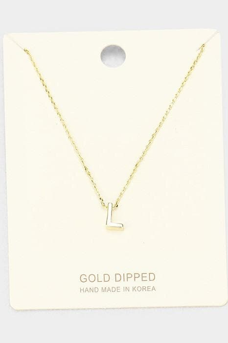 Gold Dipped Metal Monogram Pendant Necklace