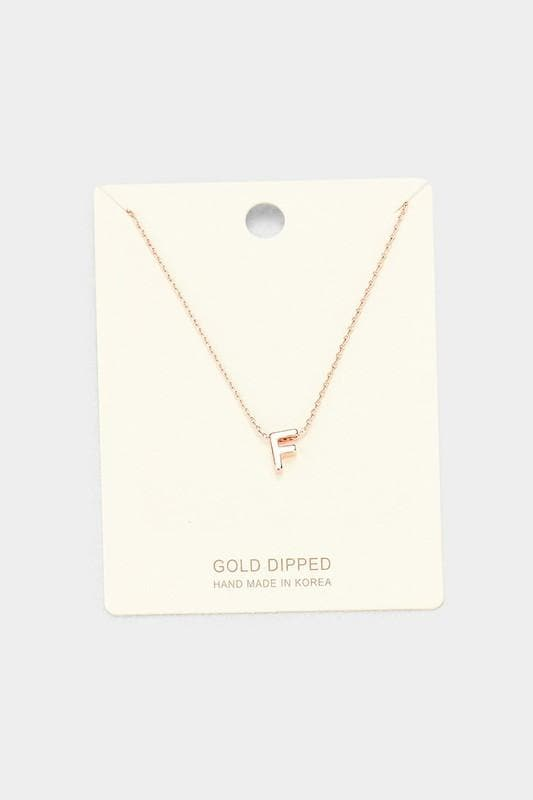 Rose Gold Dipped Metal Monogram Pendant Necklace