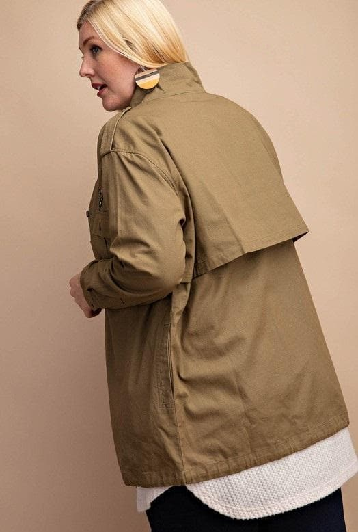 Embroidery Patch Field Jacket with Pockets