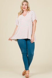 Plus Size Stripe V-Cut Neck Hi-Low with Flare Half Sleeve Top