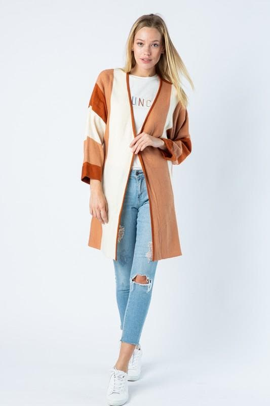 Color Block Long Cardigan