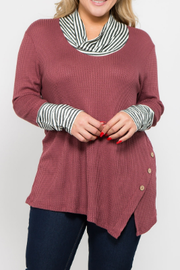 Plus Size Top with Striped Cowl Neck