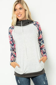 French Terry Floral Contrast Hoodie Top