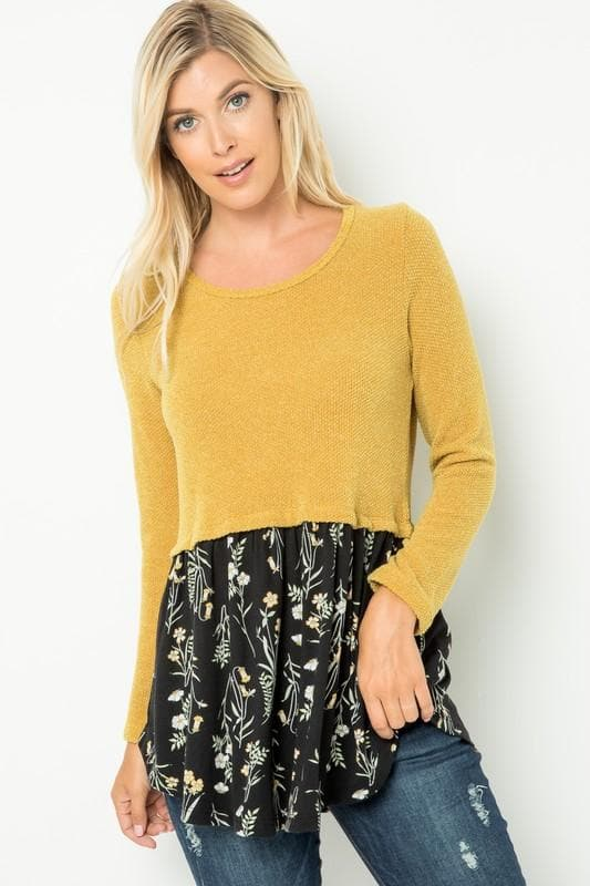 Sweater Knit Babydoll with Floral Contrast Hem