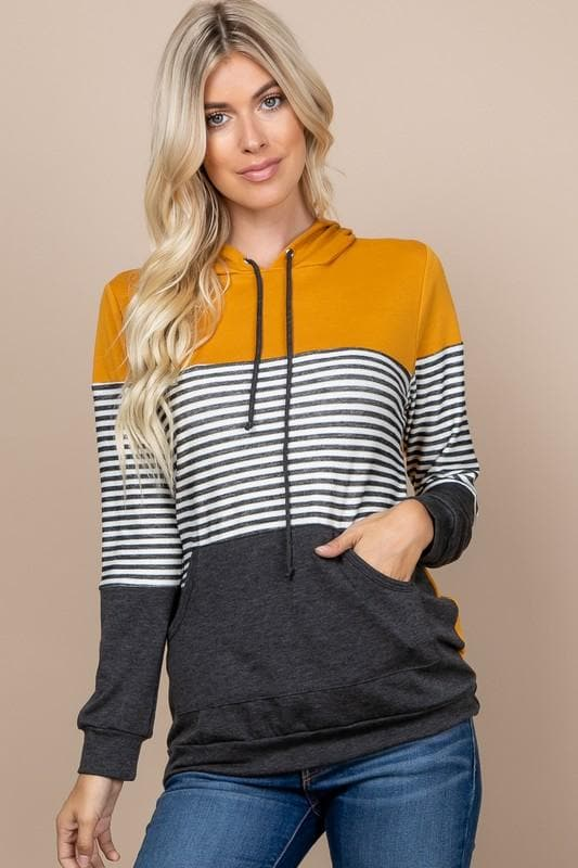 French Terry Color Blocked Hoodie