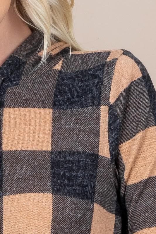 Plaid Hoodie with Pockets