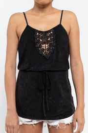 Babydoll Waist Drawstring Top with Crochet Detail