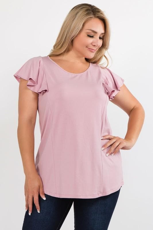Plus Size Micro Viscose Cotton Top with Ruffled Sleeves