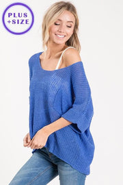 Plus Size Short Sleeve Summer to Fall Knit Sweater