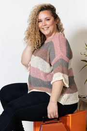 Plus Size Color Block Stripe Print Ribbed Knit 3/4 Sleeve Over Sized Cozy Sweater