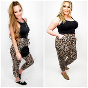 Ruffled Waistband Leopard Printed Pants (S-3XL)
