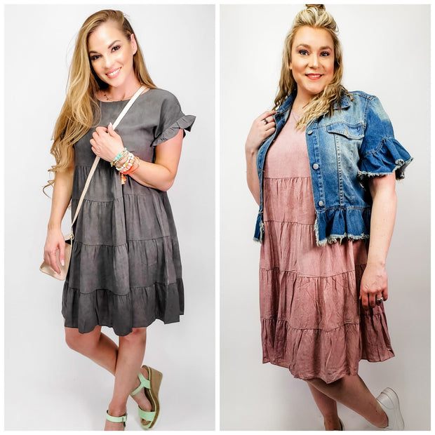Solid Washed Woven Baby Doll Dress (S-3XL)