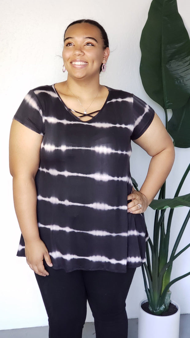 Plus Size V-Neck Criss Cross Tie Dye Stripe Black Top