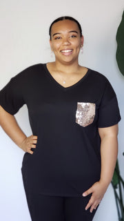 Plus Size Short Sleeve Top with Sequin Pocket