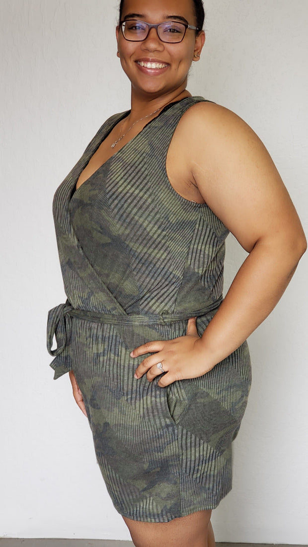 Ribbed Camo Romper With Surplice Neckline