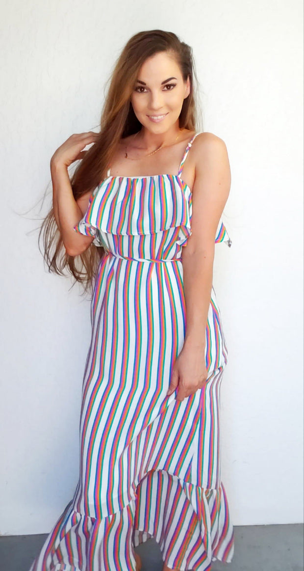 Striped Ruffle Top Dress w/ Adjustable Straps
