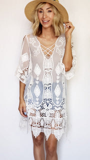 V-Cut Sheer Pineapple and Floral Lace Cover Up