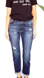 Judy Blue Minimalist Girlfriend Jeans