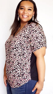 Plus Size Cheetah Print V-Neck Top